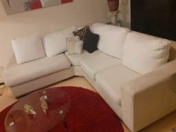 Sofá Estofado em L Branco