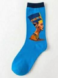 Par de meia de algodão azul cano alto com estampa do faraó