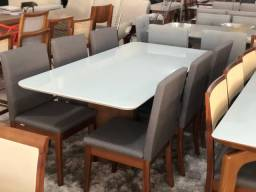 Mesa de jantar DECO de 6 cadeiras de madeira