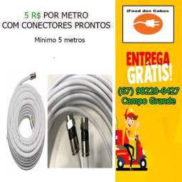 Cabo Coaxial RG6 para Antena de TV e Modem - Entrega GRÁTIS