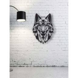 quadro Vazado Lobo e leão Mdf  3 Mm preto fosco