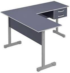 Mesa para Escritório Azul em L