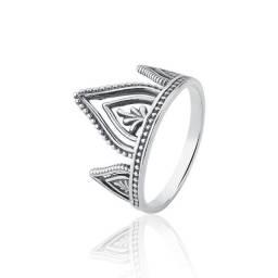 Anel de prata envelhecida coroa