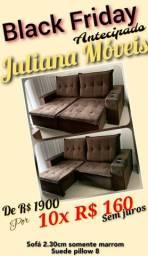 Sofá retratil e reclinavel 2,30x1,80 molas pillow 8 marrom suede
