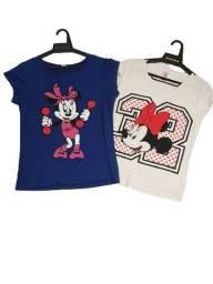Kit Com 4 Camiseta Feminina Manga Curta Minnie e Mickey