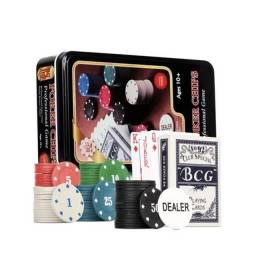 Kit Poker Baralho Cartas Cassino 80 Fichas Numeradas Dealer
