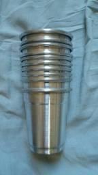 10 copos de aluminio