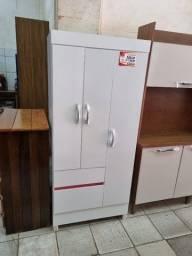 Título do anúncio: Guarda-roupa 3 portas Wind branco/rosa flex ou cinza, Demóbile