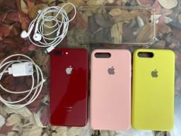 IPHONE 8plus 64G  RED + 3 capas + fone + Carregador