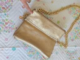 Bolsa dourada couro Dumond