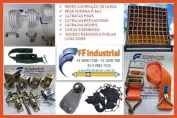 Rede para contenção de carga cinta e catracas para amarração