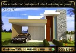 Linda casa no condomínio Ecoville com 3 quartos, amplo espaço gourmet, financia