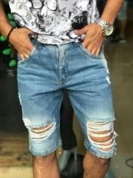 Bermuda jeans masculina rasgada