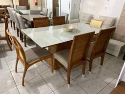 Mesa de jantar MELFISS madeira e acabamento laka luxo