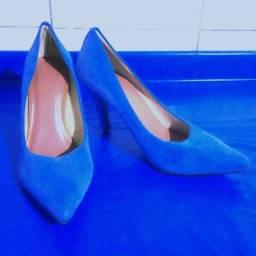 Scarpin azul veludo, N 38