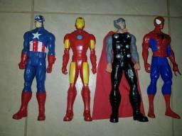 Bonecos Capitão América, Homem de Ferro, Thor e Homem Aranha