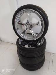 rodas semi novas cromadas aro 20 5 furos com pneus semi novos