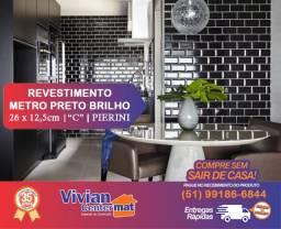 Revestimento Metro Preto brilho - Comercial - 26 x 12,5cm