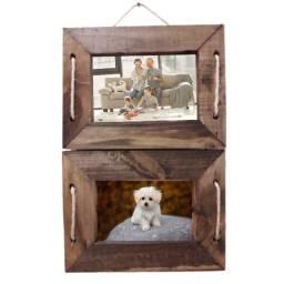 Porta Retrato de Parede ou Mesa em Madeira Rústico P/ 2 Fotos 10x15 Novo