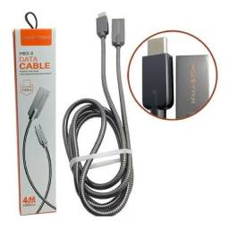 Cabo USB Tipo C de Dados e Carregamento H'maston Pro 4.8A Blindado 1m