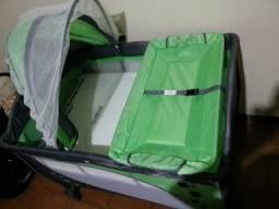 Berço Portatil Balanço Trocador Baby Style Verde - Acompanha colchão