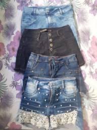 Conjunto jeans. Três shorts e uma saia