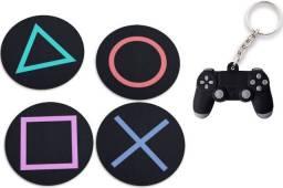 Porta Copo Bolacha Playstation 5 - Geek Nerd - Chaveiro de Brinde