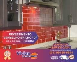 Revestimento Vermelho Brilho - Comercial - 26 x 12,5cm