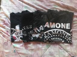 Camiseta Guns n Roses, Avenged Sevenfold, Ramones e Iron Maiden