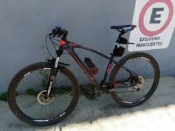 bicicleta 27v/ freio hidráulico/ trava na suspensão/