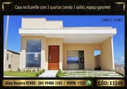 Casa no Ecoville, com 3 quartos, Área gourmet, repasse 250 mil mais o saldo do lote