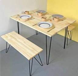 Mesa jantar retangular com 2  bacos pé hairpin