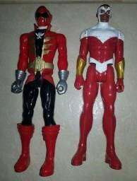 Power Ranger Vermelho e Gavião - 02 Bonecos de 30cm