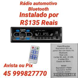 Rádio Carro Bluetooth Instalado R$135