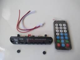 Placa Usb Mp3 Player Aux 12V Bluetooth Muda de Pasta