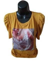 Blusa Feminina Manga Bufante T-shirt Original