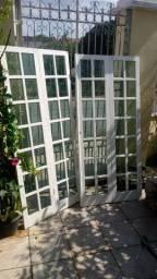 Porta divisória de madeira com vidros vão 1, 88 4 folhas 0,47 X 2,09