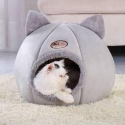 Cama de gato dobrável com autoaquecimento, cama acolchoada com colchão removível cinza