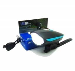 Luz Sinalizador Frontal USB Recarregável com Buzina Bike Ciclismo