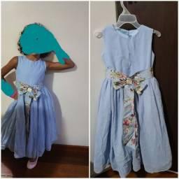 Vestido azul claro de festa tam 4 a 6 anos