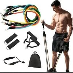 Título do anúncio: Kit Elástico Musculação 11 peças Treino em casa