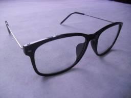 ff607cf3d9287 Presente Armação Óculos Preta Haste Arame Casual Pronta Entrega
