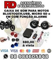 Caixa De Som BLUETOOTH USB MICRO SD FM E FUNÇÃO ALARME PRA MOTOS