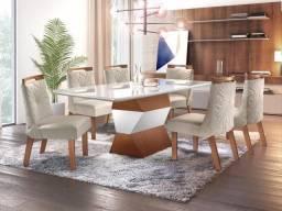 Mesa Jantar Completa Luxo +Tapetão de brinde 12x cartão sem juros