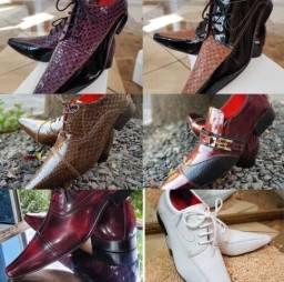 Sapato de luxo masculino - couro puro - fino acabamento