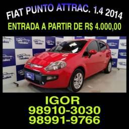 IMBATIVEL! Fiat Punto Attractive 1.4 8v FLEX 2014, falar com Igor - 2014