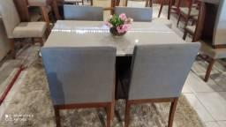Mesa de jantar para sala ou cozinha cadeiras de madeira maciça
