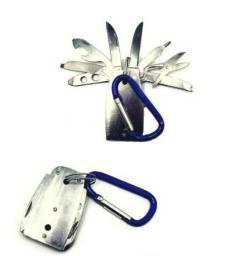 Kit Chaveiro Canivete De Metal Com 8 Funções