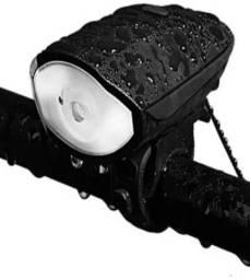 Farol Led Lanterna Buzina Bike Ciclista Pilha Resistente a água