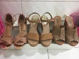 Sandálias anabela e salto fino